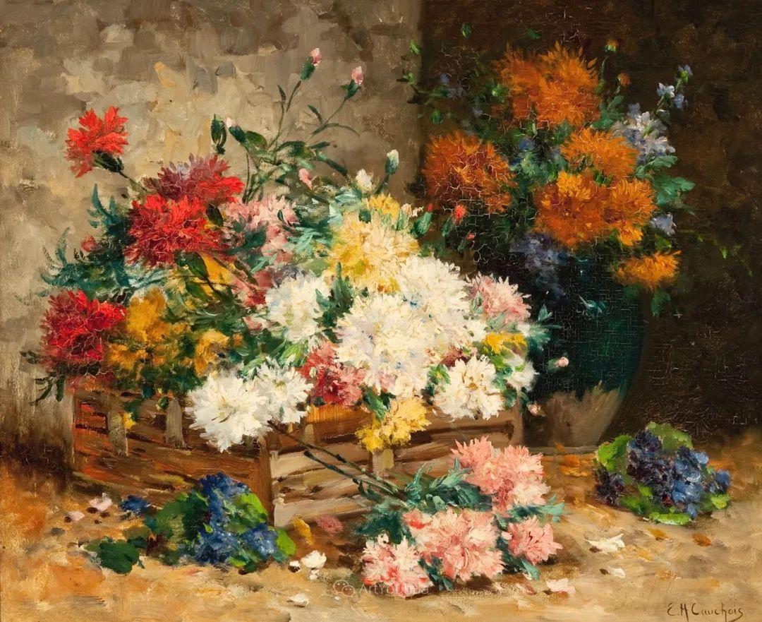 花卉的绽放之美,法国艺术家Eugene Henri Cauchois插图1
