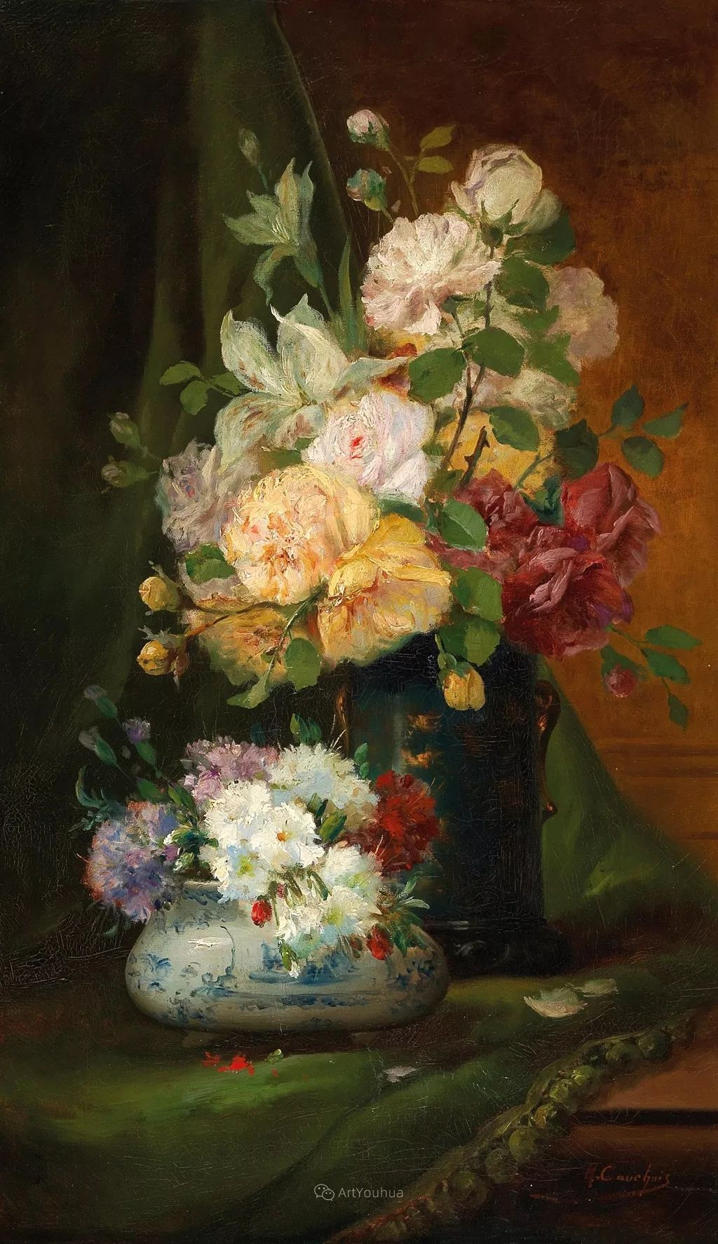 花卉的绽放之美,法国艺术家Eugene Henri Cauchois插图17