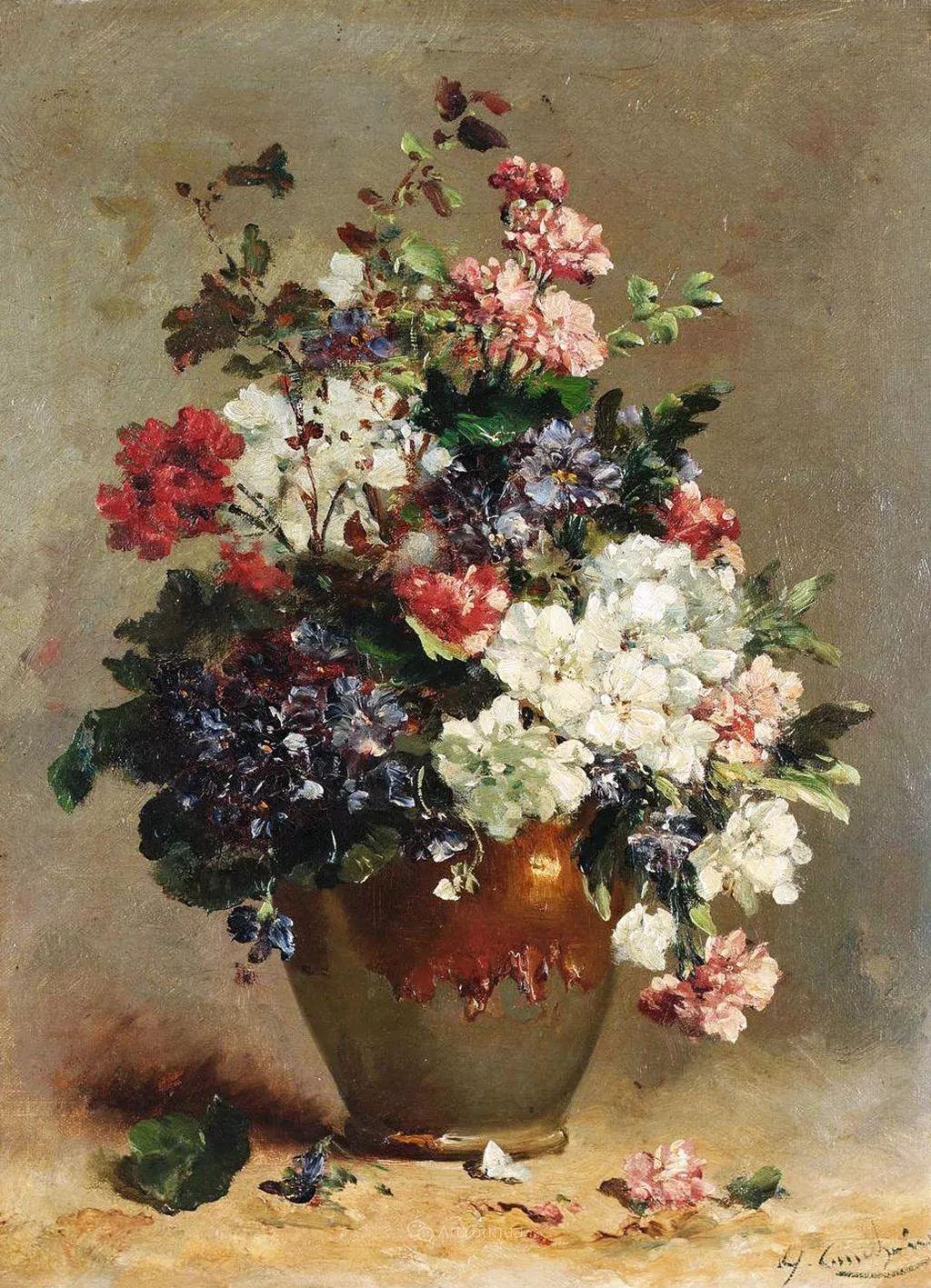 花卉的绽放之美,法国艺术家Eugene Henri Cauchois插图19