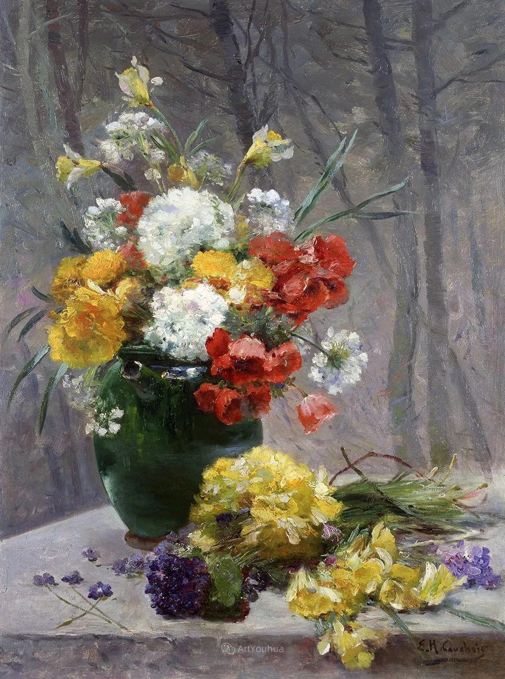 花卉的绽放之美,法国艺术家Eugene Henri Cauchois插图21