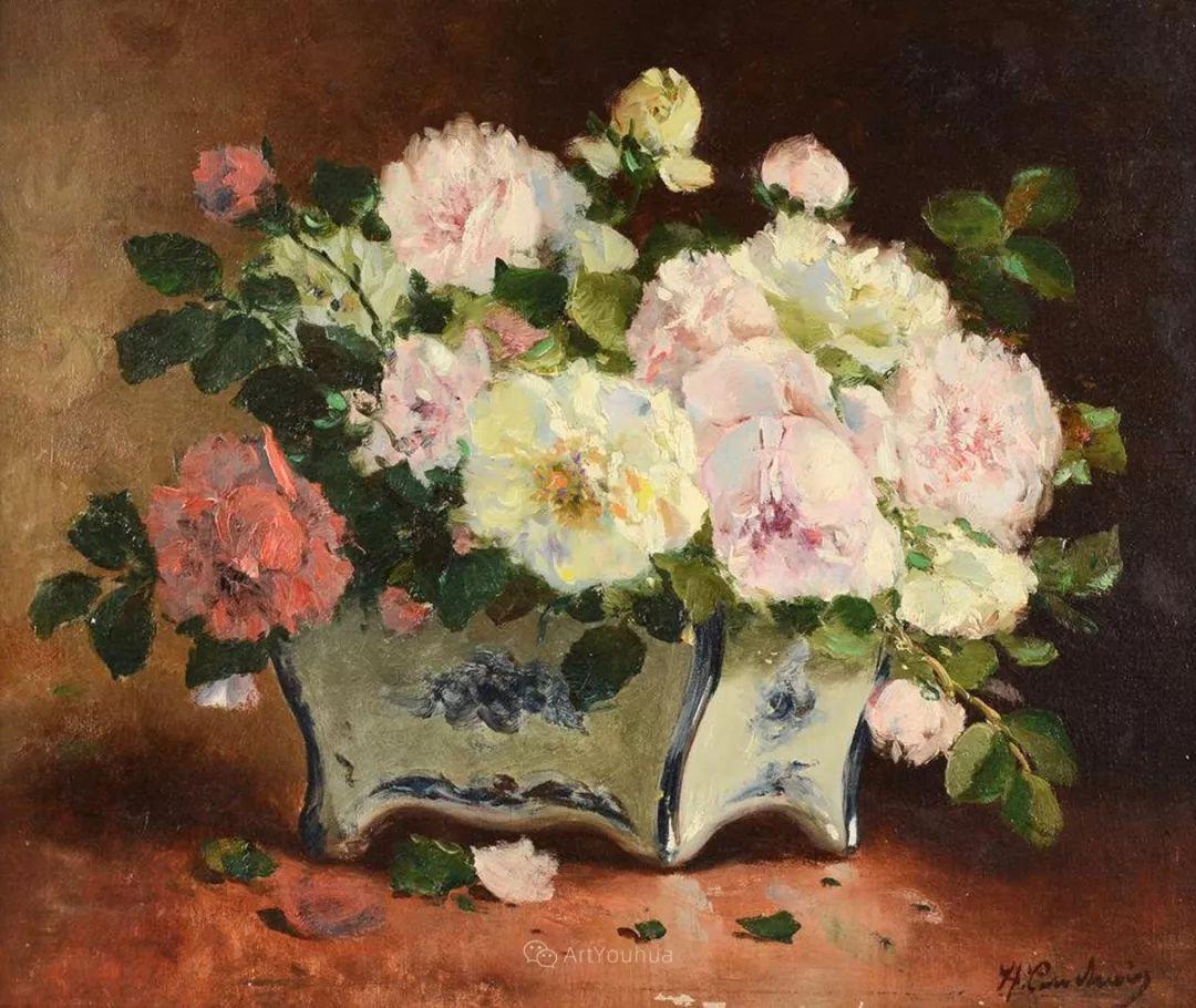花卉的绽放之美,法国艺术家Eugene Henri Cauchois插图33