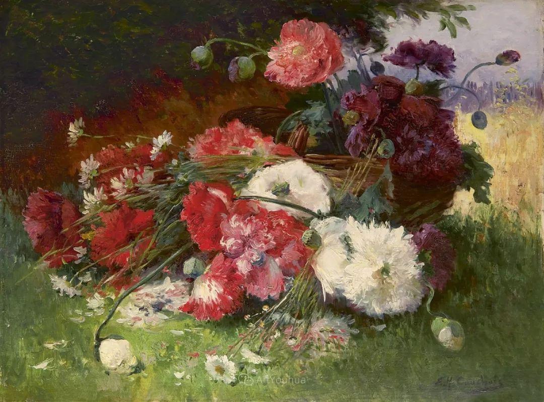 花卉的绽放之美,法国艺术家Eugene Henri Cauchois插图35