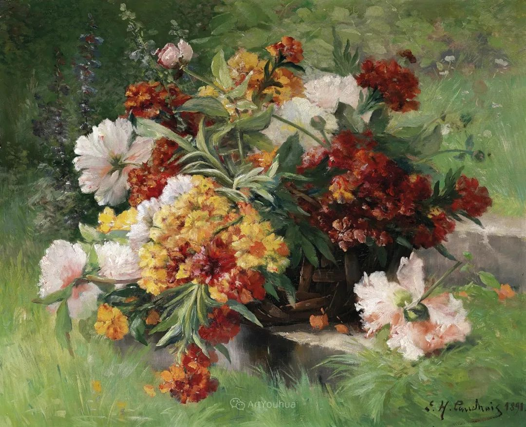 花卉的绽放之美,法国艺术家Eugene Henri Cauchois插图43