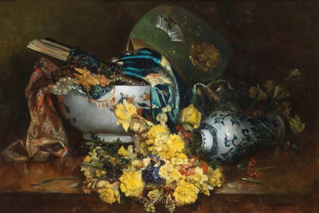 花卉的绽放之美,法国艺术家Eugene Henri Cauchois插图45