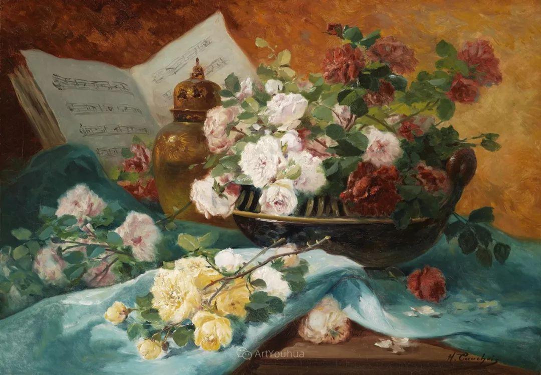 花卉的绽放之美,法国艺术家Eugene Henri Cauchois插图47