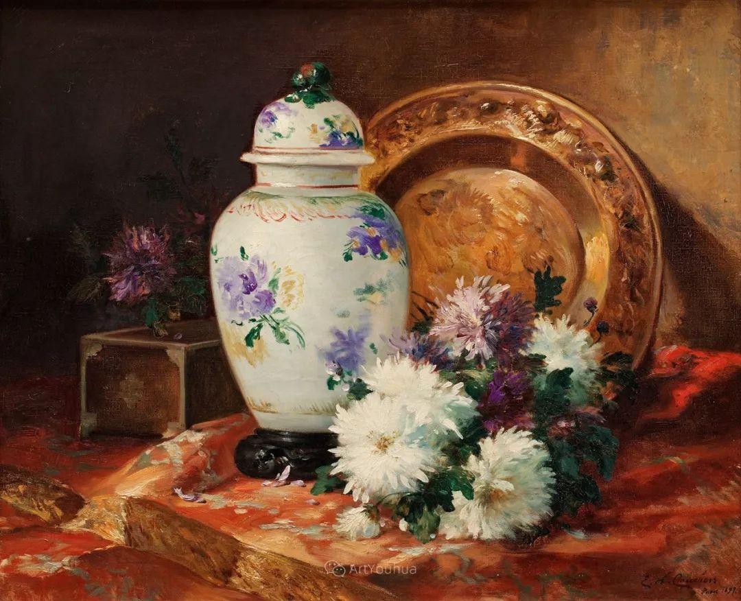 花卉的绽放之美,法国艺术家Eugene Henri Cauchois插图49