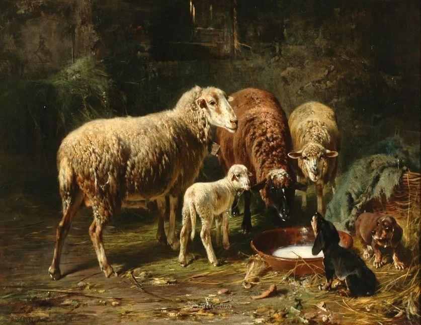 这些绵羊很惹人爱,德国艺术家Friedrich Otto Gebler插图