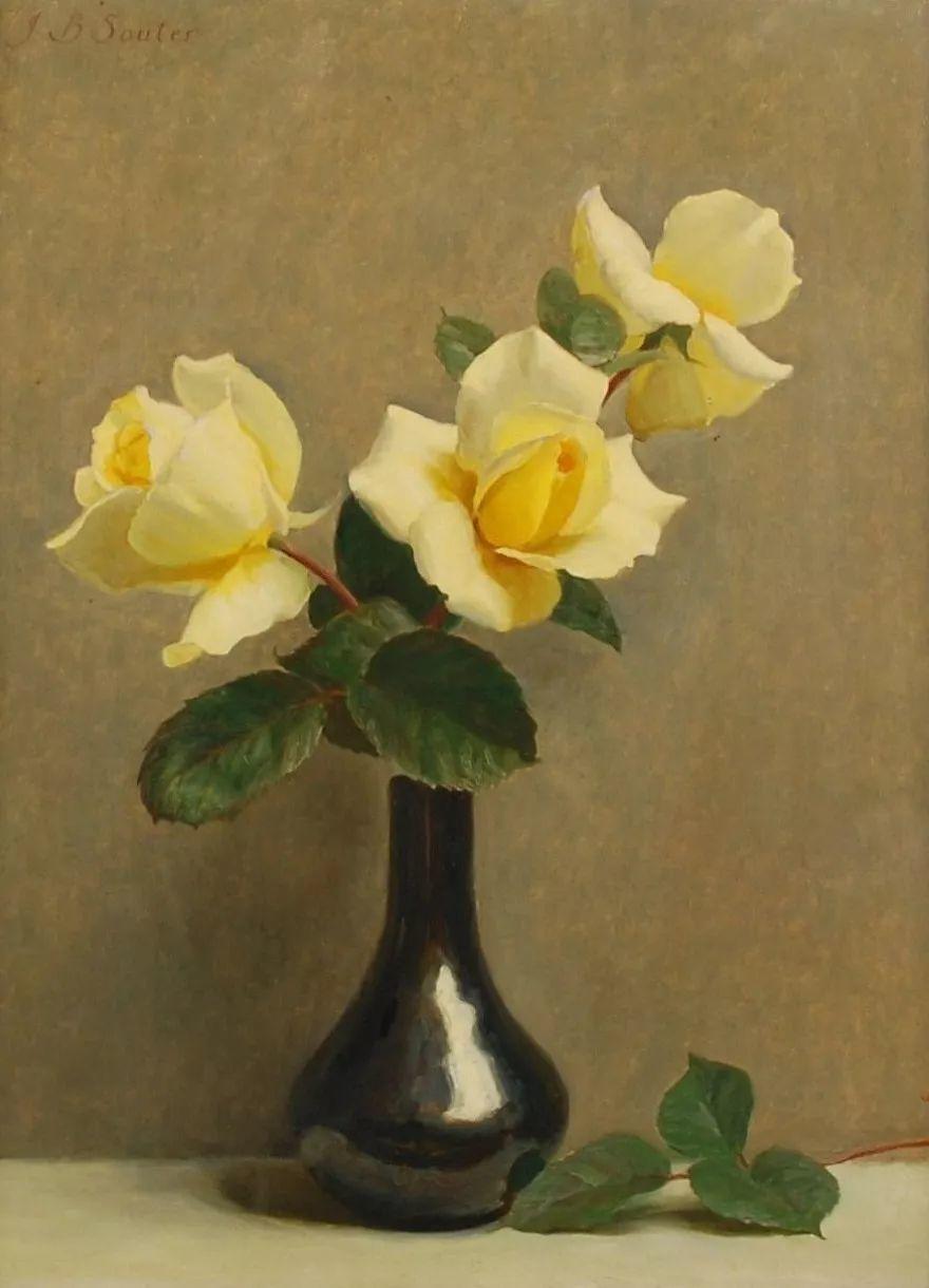 淡雅花卉静物,英国艺术家John Bulloch Souter插图1
