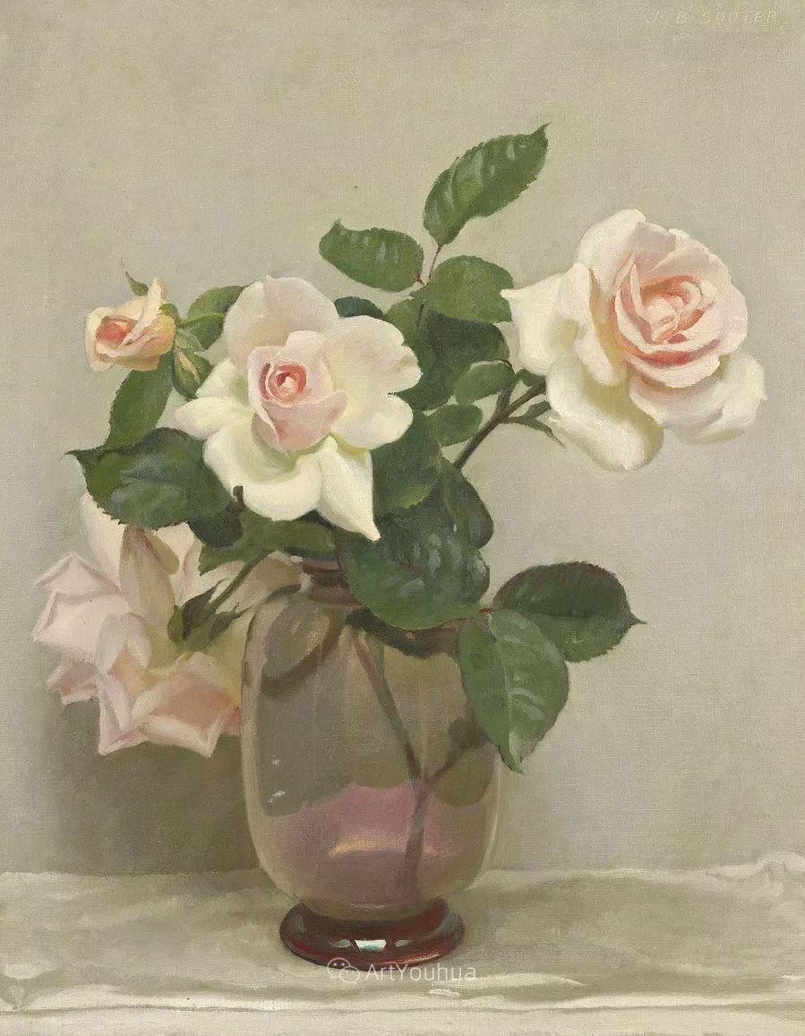 淡雅花卉静物,英国艺术家John Bulloch Souter插图3