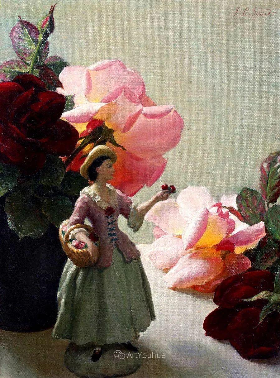 淡雅花卉静物,英国艺术家John Bulloch Souter插图5