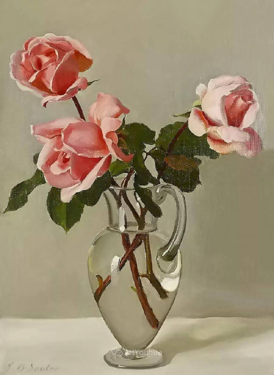 淡雅花卉静物,英国艺术家John Bulloch Souter插图7