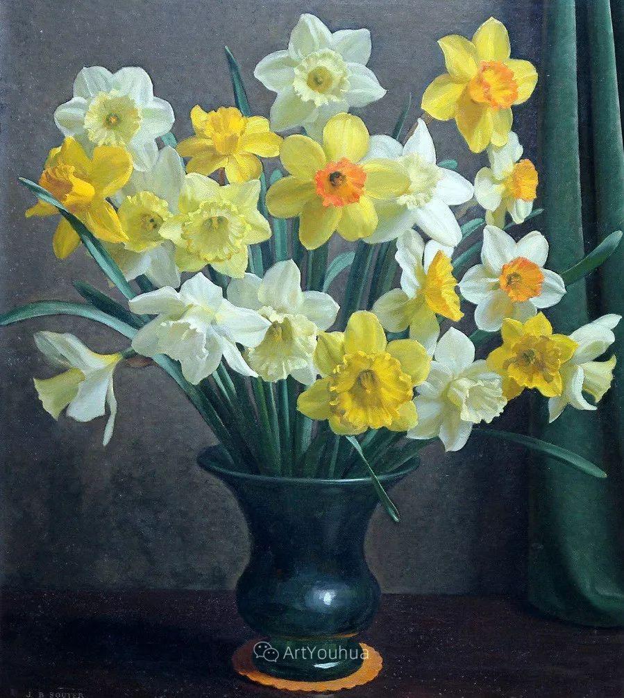 淡雅花卉静物,英国艺术家John Bulloch Souter插图14