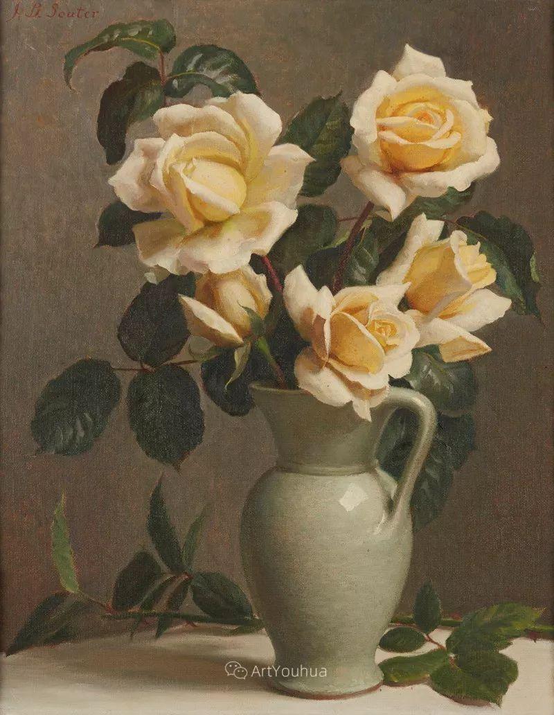 淡雅花卉静物,英国艺术家John Bulloch Souter插图22
