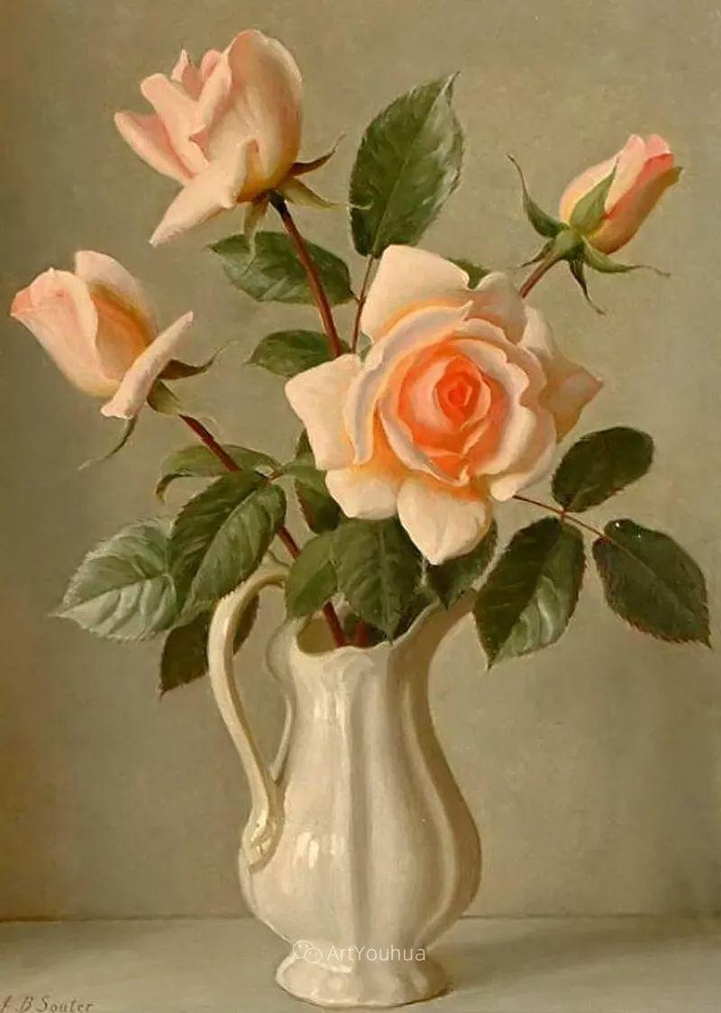 淡雅花卉静物,英国艺术家John Bulloch Souter插图24