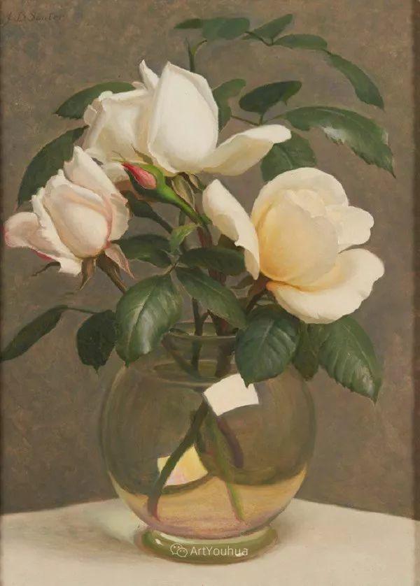 淡雅花卉静物,英国艺术家John Bulloch Souter插图26