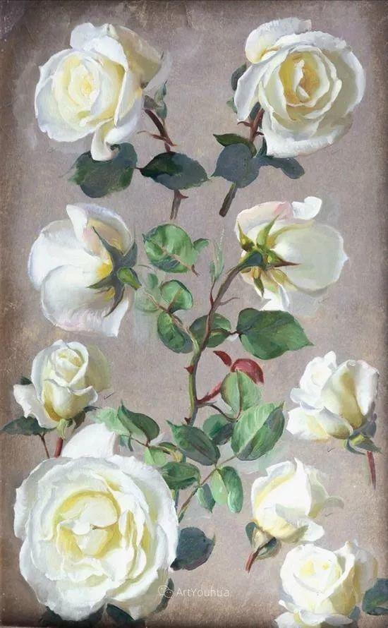 淡雅花卉静物,英国艺术家John Bulloch Souter插图28