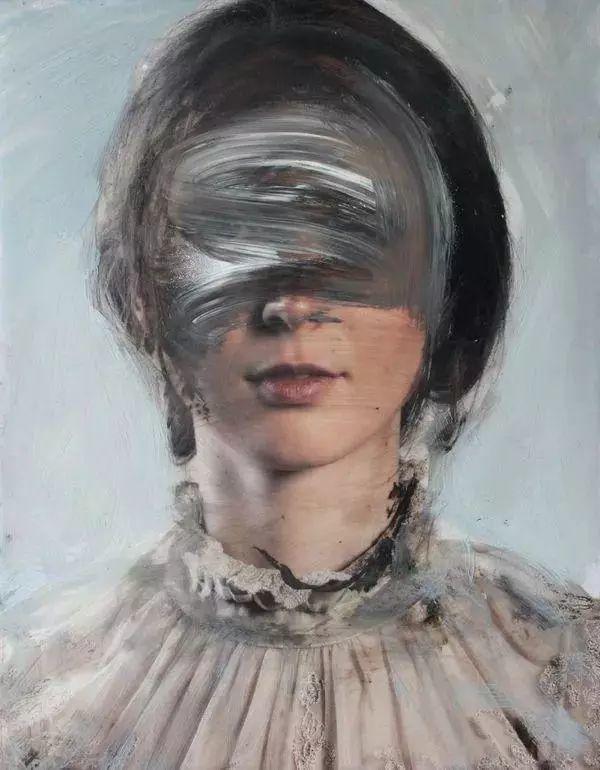 """""""破坏式""""肖像画,容颜是最虚伪的美丽,荷兰画家Daniel Martin插图"""