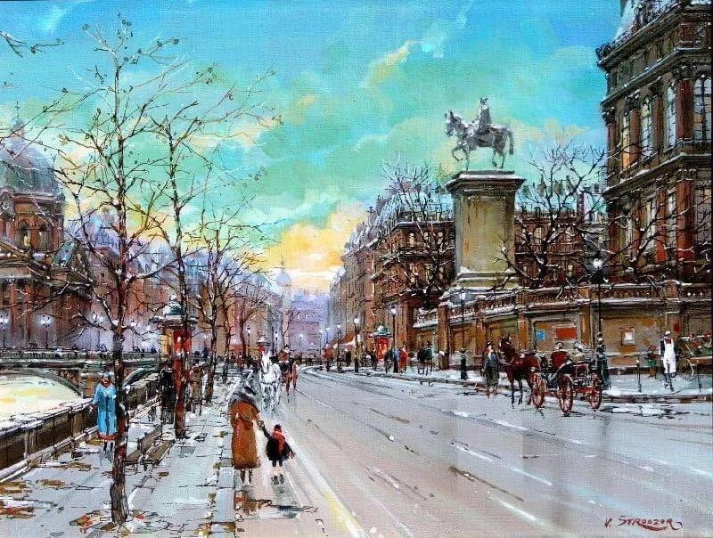 城市街景,美!俄罗斯画家Vladimir Stroozer插图1