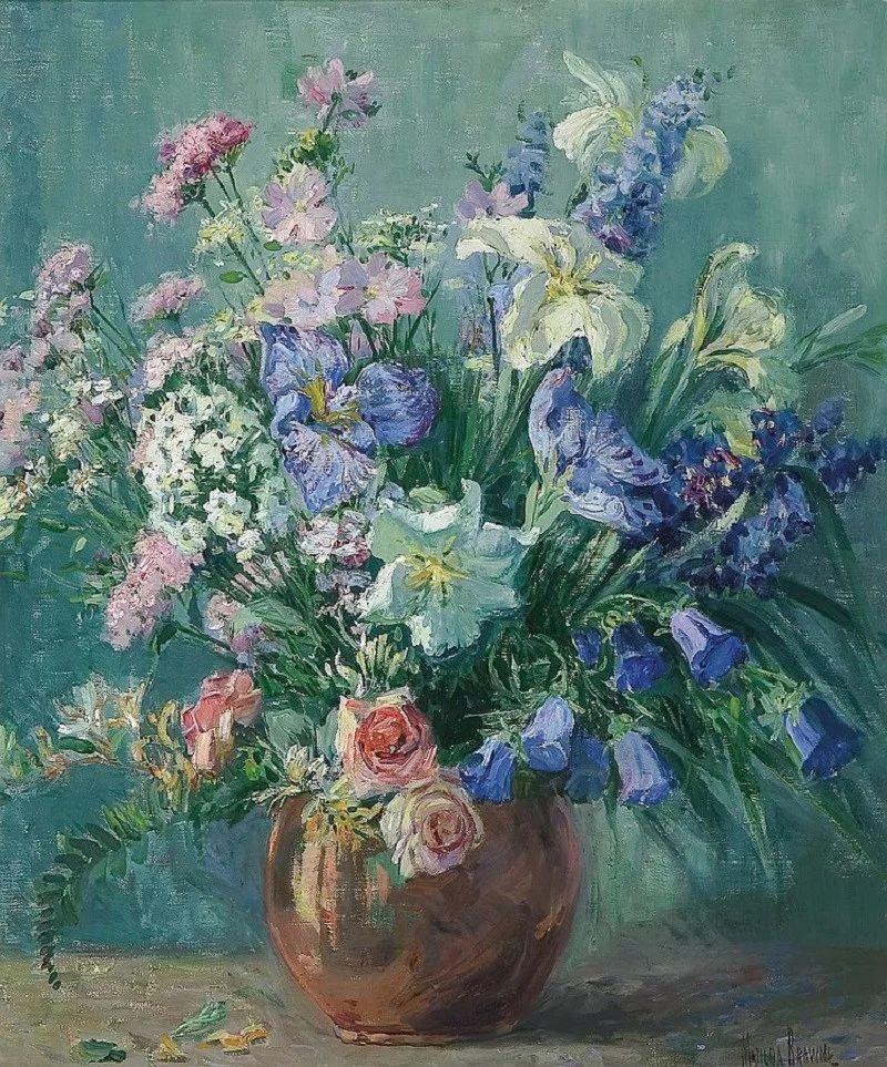 大胆的笔触,郁郁葱葱的花儿!美国印象派女画家Matilda Browne插图