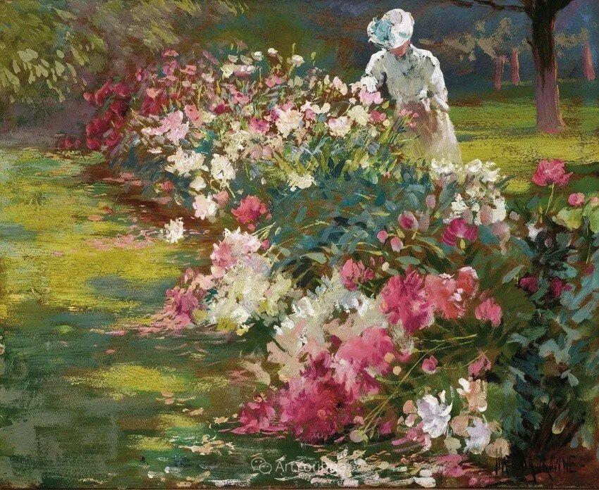 大胆的笔触,郁郁葱葱的花儿!美国印象派女画家Matilda Browne插图1
