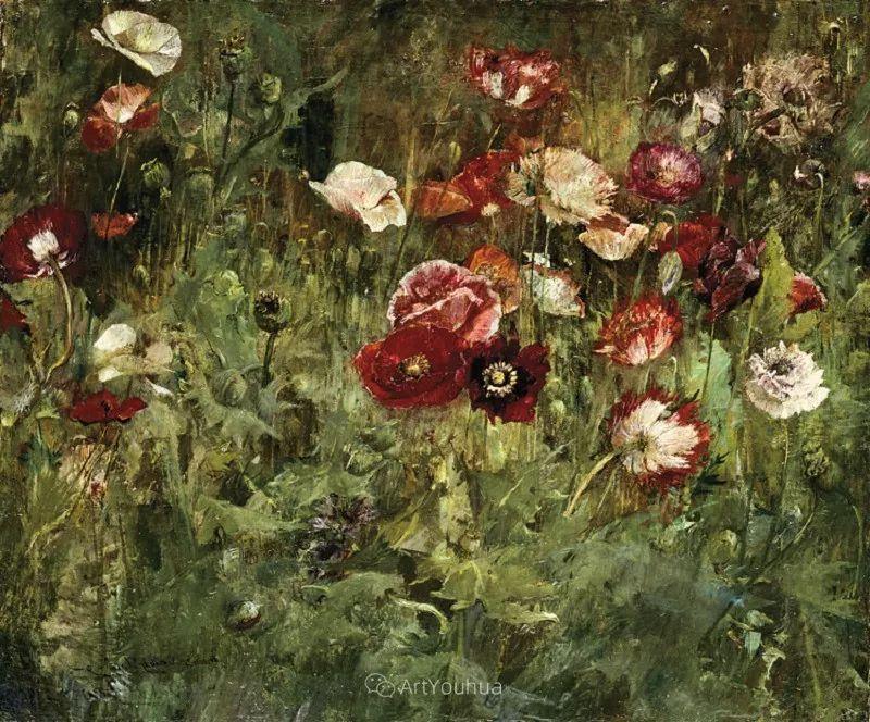 大胆的笔触,郁郁葱葱的花儿!美国印象派女画家Matilda Browne插图11