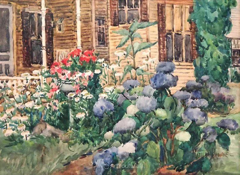 大胆的笔触,郁郁葱葱的花儿!美国印象派女画家Matilda Browne插图14