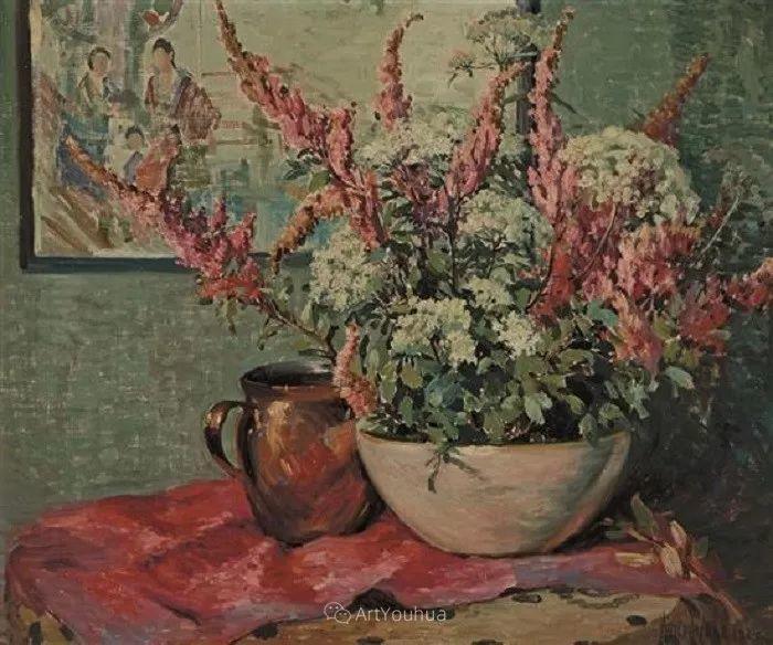 大胆的笔触,郁郁葱葱的花儿!美国印象派女画家Matilda Browne插图18
