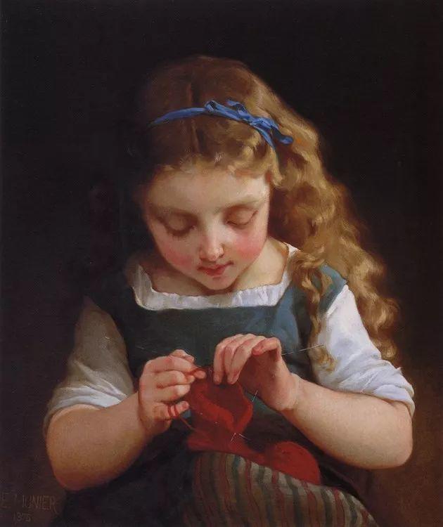 他笔下儿童、母亲形象个个可爱温馨,法国画家Emile Munier插图