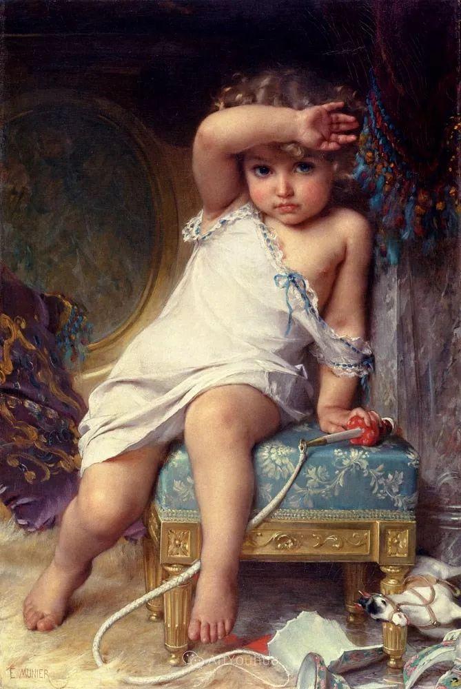 他笔下儿童、母亲形象个个可爱温馨,法国画家Emile Munier插图1