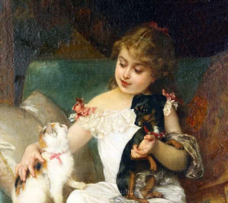 他笔下儿童、母亲形象个个可爱温馨,法国画家Emile Munier插图3