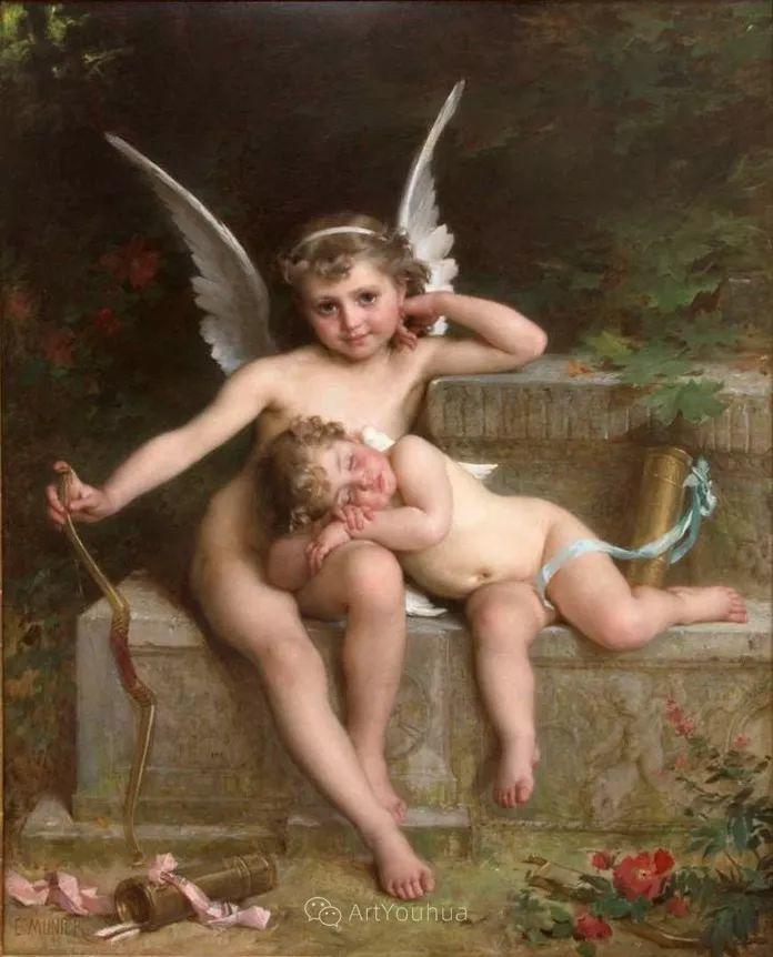 他笔下儿童、母亲形象个个可爱温馨,法国画家Emile Munier插图4