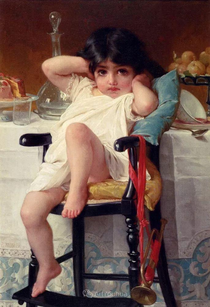 他笔下儿童、母亲形象个个可爱温馨,法国画家Emile Munier插图5
