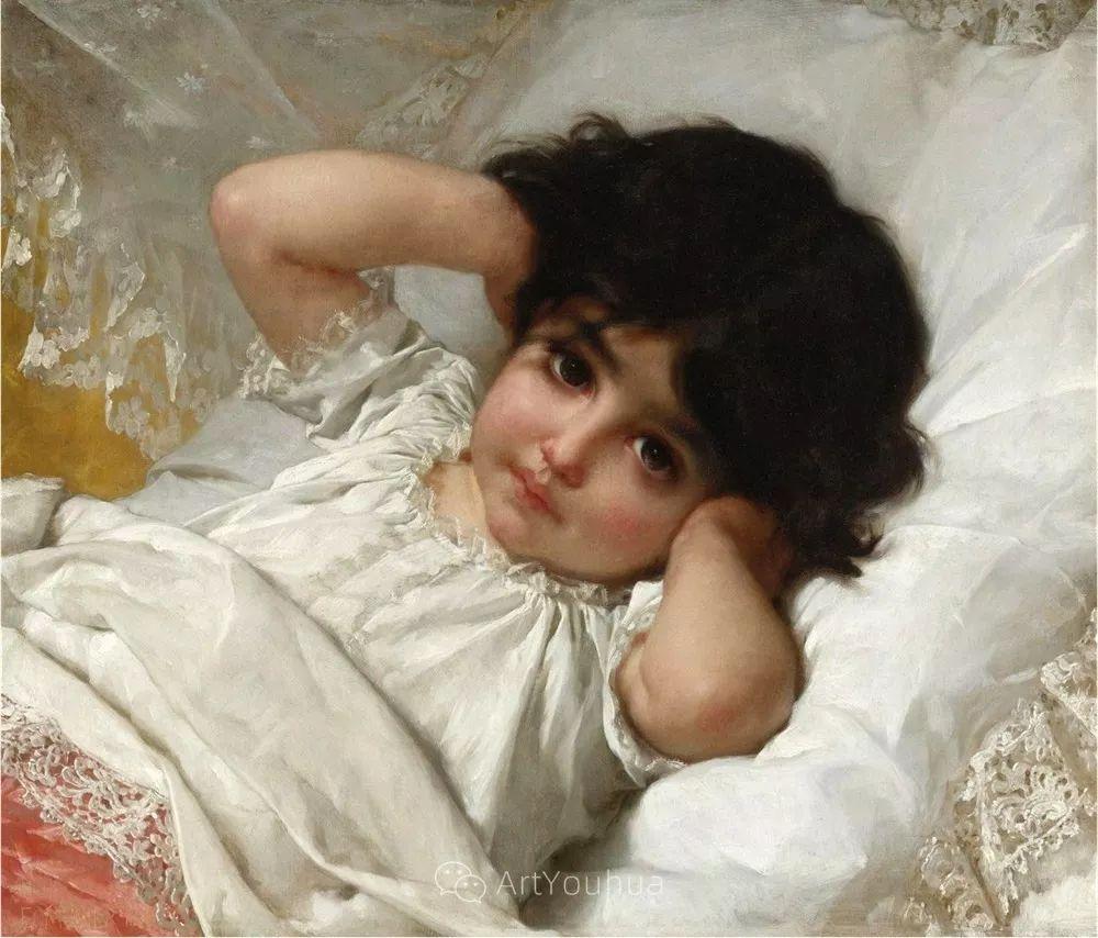 他笔下儿童、母亲形象个个可爱温馨,法国画家Emile Munier插图6