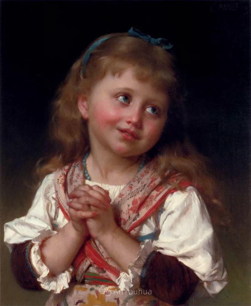 他笔下儿童、母亲形象个个可爱温馨,法国画家Emile Munier插图10