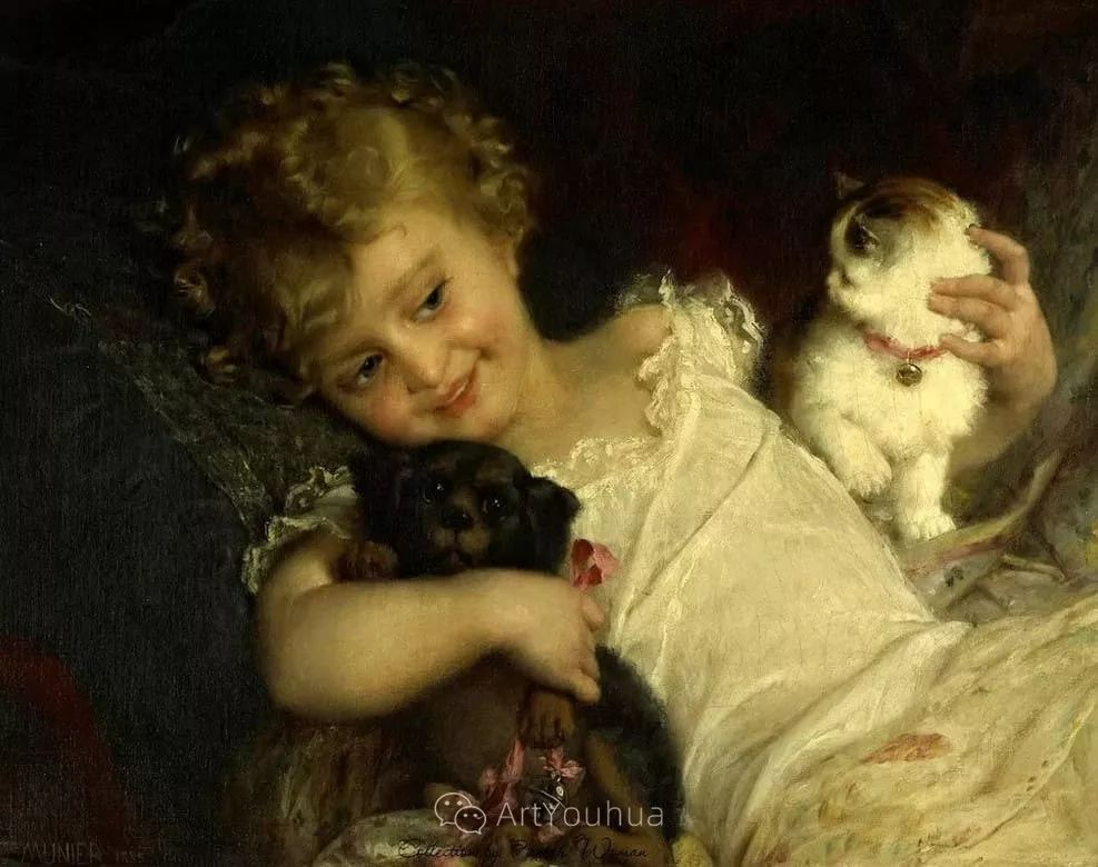 他笔下儿童、母亲形象个个可爱温馨,法国画家Emile Munier插图11