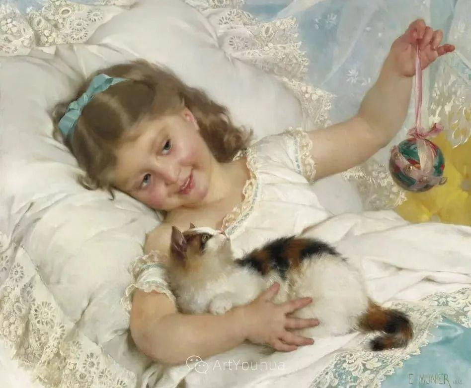 他笔下儿童、母亲形象个个可爱温馨,法国画家Emile Munier插图12