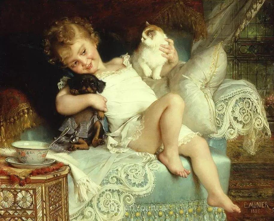 他笔下儿童、母亲形象个个可爱温馨,法国画家Emile Munier插图14