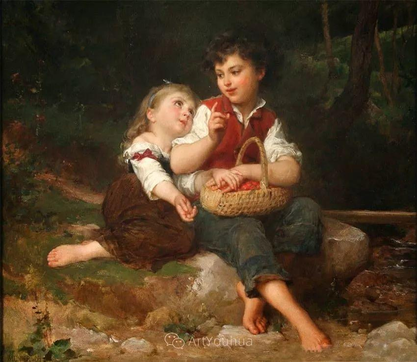 他笔下儿童、母亲形象个个可爱温馨,法国画家Emile Munier插图15