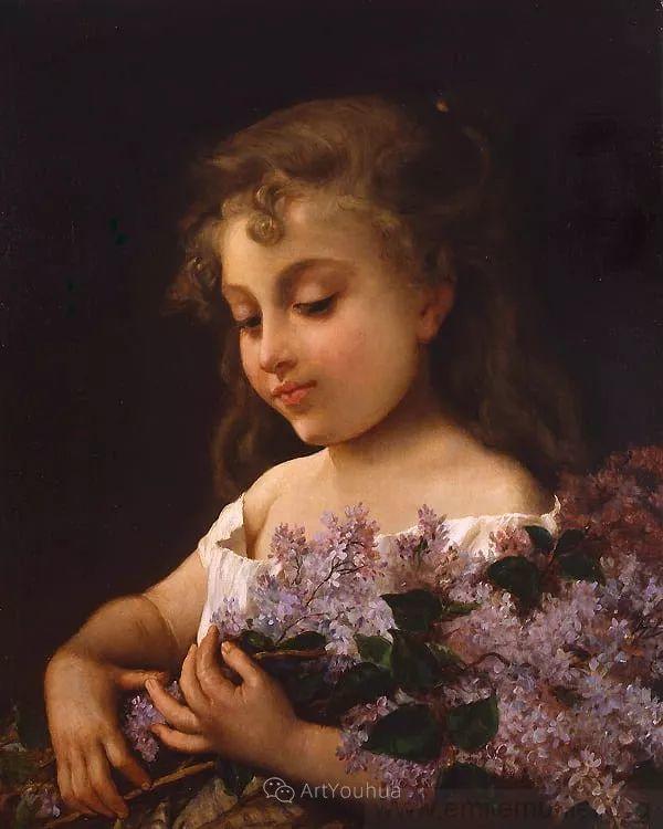 他笔下儿童、母亲形象个个可爱温馨,法国画家Emile Munier插图16