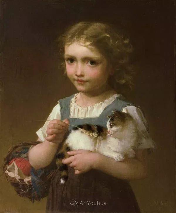 他笔下儿童、母亲形象个个可爱温馨,法国画家Emile Munier插图17