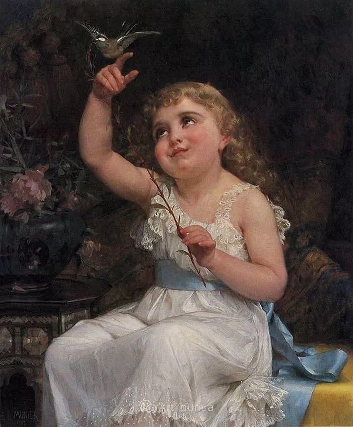 他笔下儿童、母亲形象个个可爱温馨,法国画家Emile Munier插图18