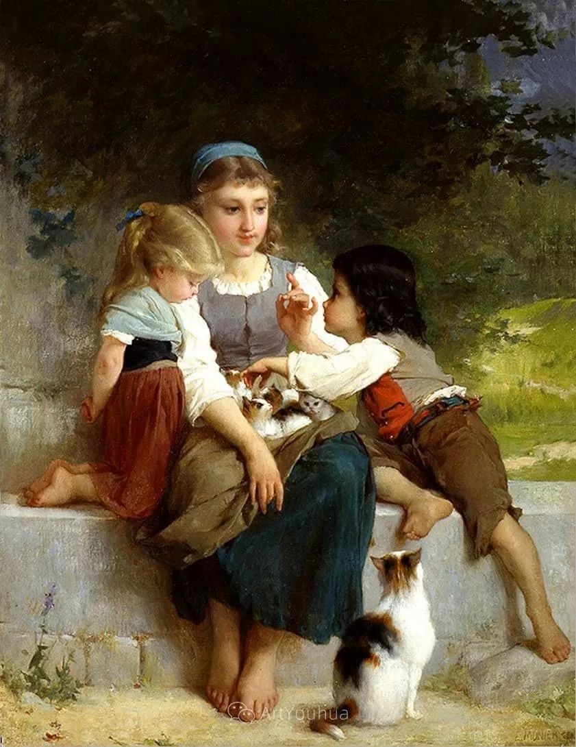 他笔下儿童、母亲形象个个可爱温馨,法国画家Emile Munier插图19