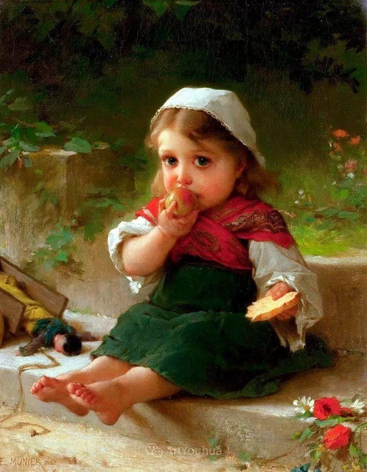 他笔下儿童、母亲形象个个可爱温馨,法国画家Emile Munier插图20