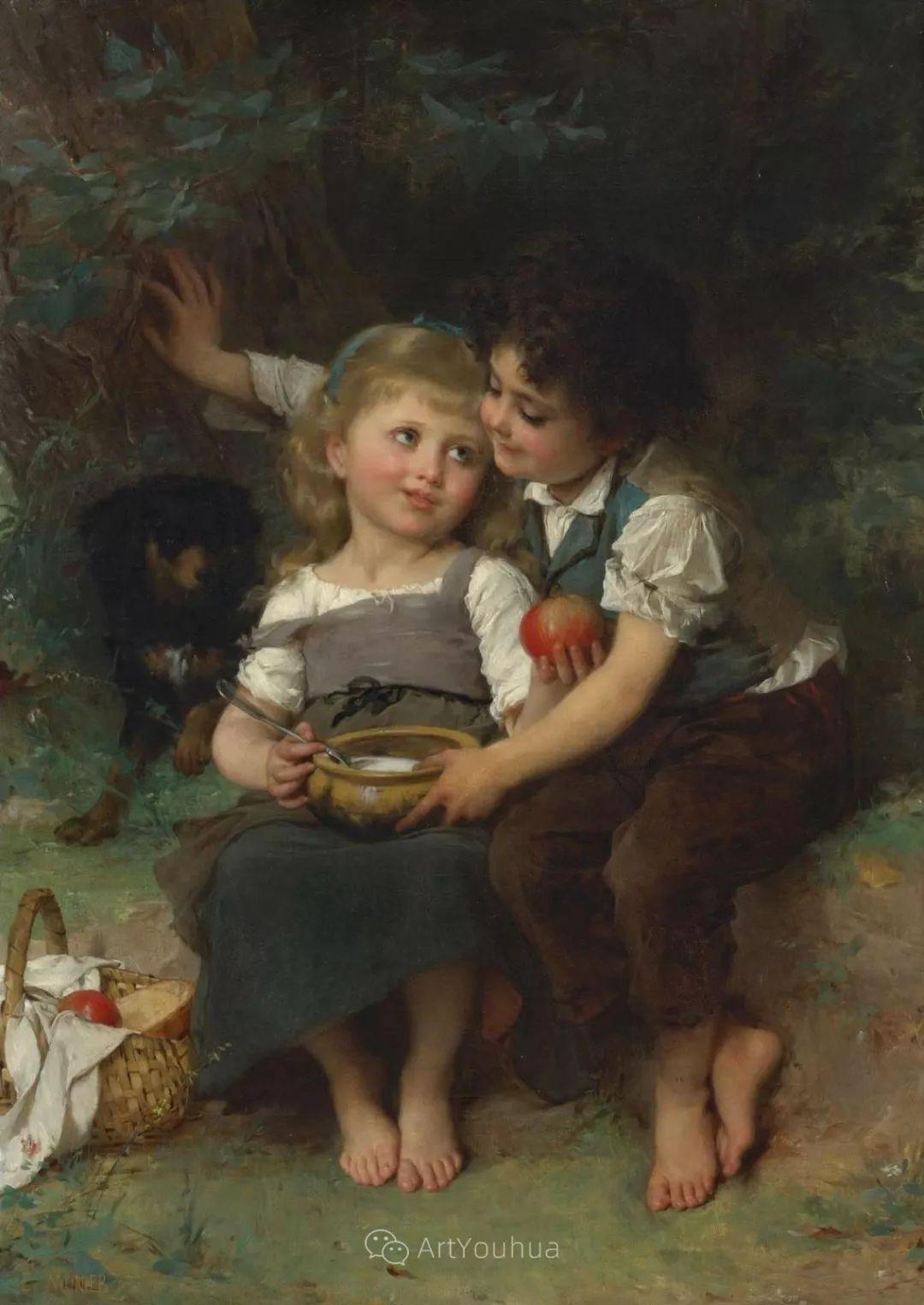 他笔下儿童、母亲形象个个可爱温馨,法国画家Emile Munier插图21