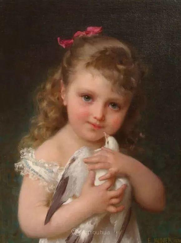 他笔下儿童、母亲形象个个可爱温馨,法国画家Emile Munier插图22