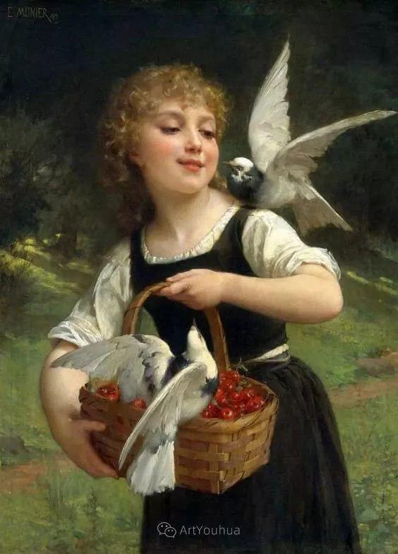 他笔下儿童、母亲形象个个可爱温馨,法国画家Emile Munier插图23