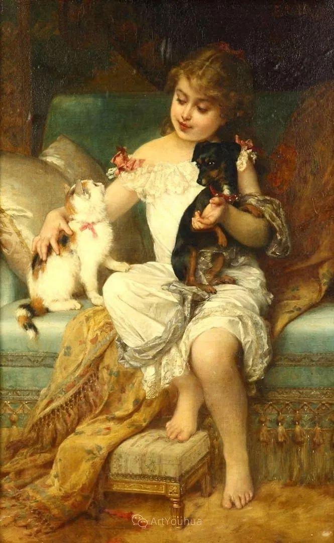 他笔下儿童、母亲形象个个可爱温馨,法国画家Emile Munier插图24