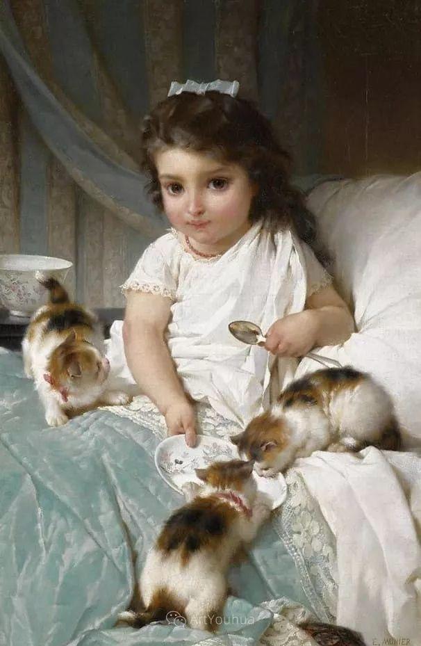 他笔下儿童、母亲形象个个可爱温馨,法国画家Emile Munier插图25