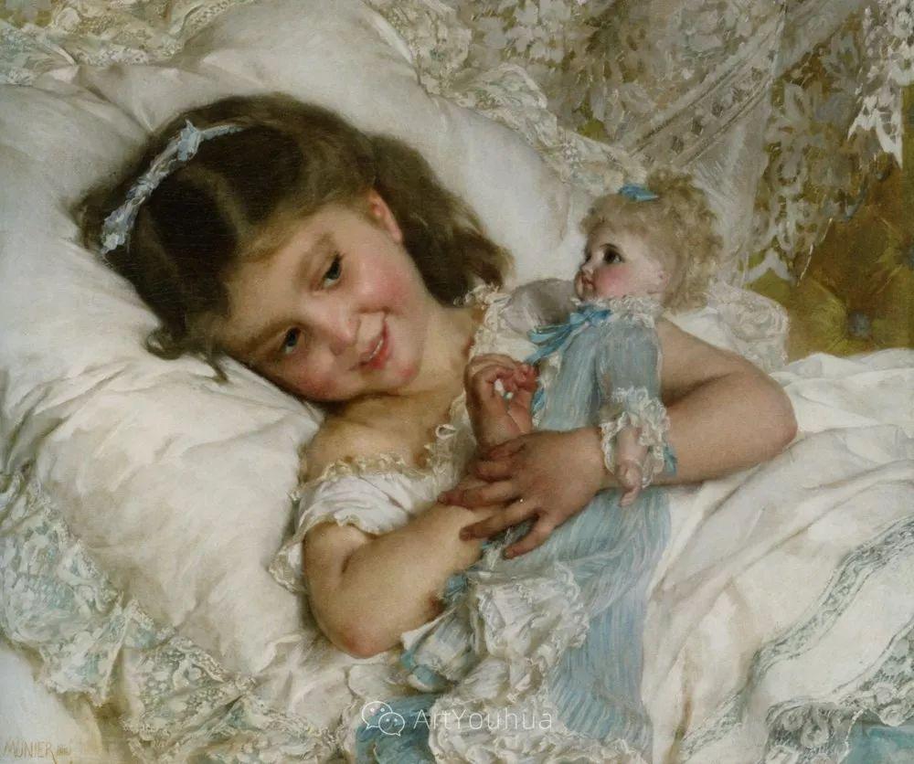 他笔下儿童、母亲形象个个可爱温馨,法国画家Emile Munier插图26