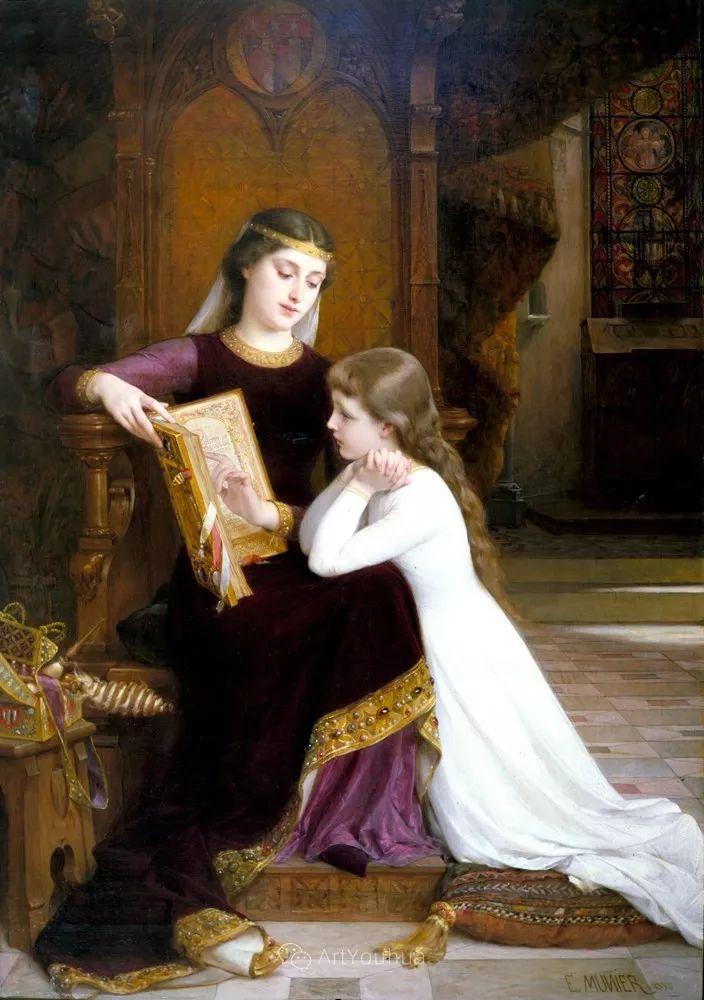他笔下儿童、母亲形象个个可爱温馨,法国画家Emile Munier插图27